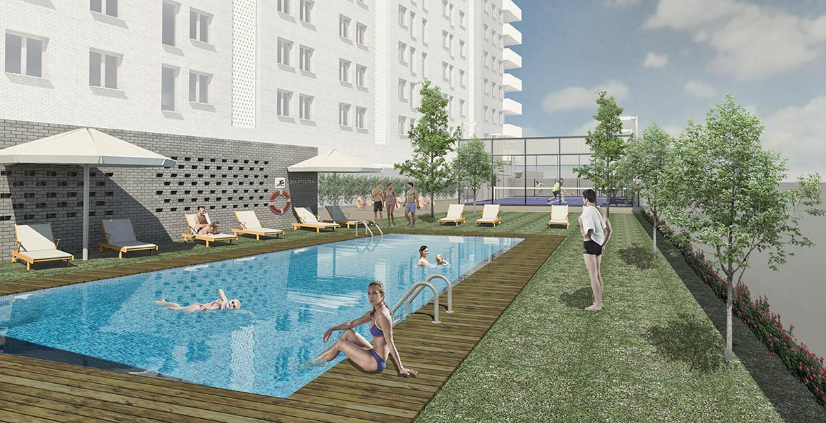 piscina Edificio Status. Comprar piso en Lleida