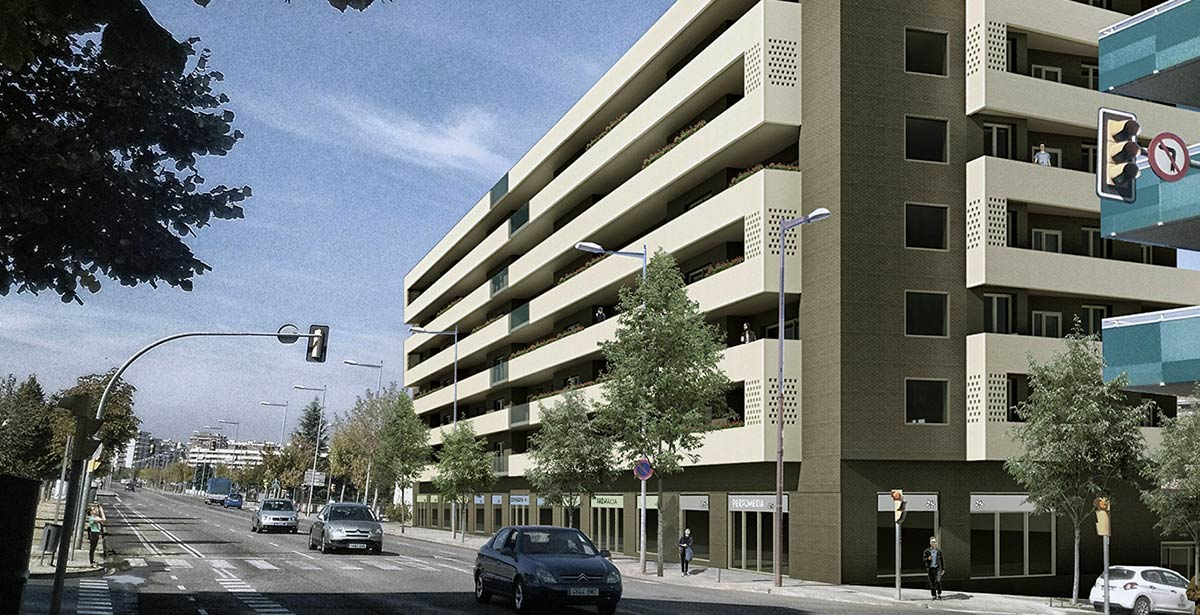 Fachada Edificio Status Lleida. Comprar piso en Lleida